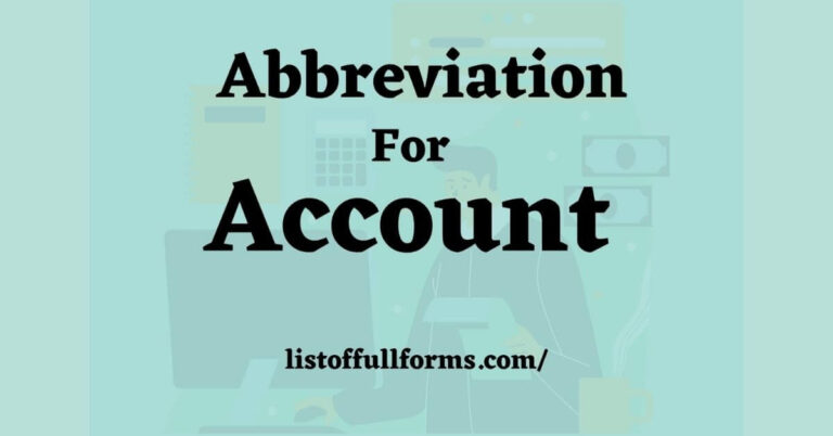 Abbreviation For Account