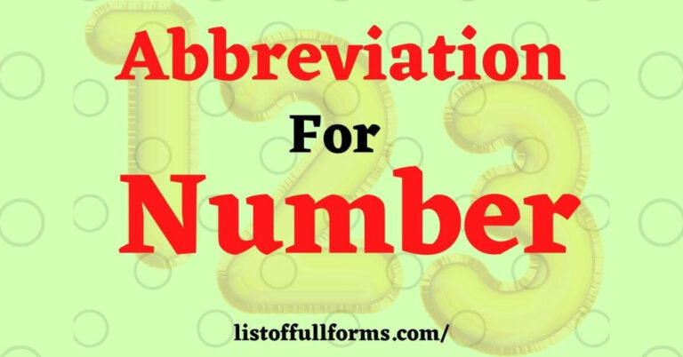 Abbreviation For Number