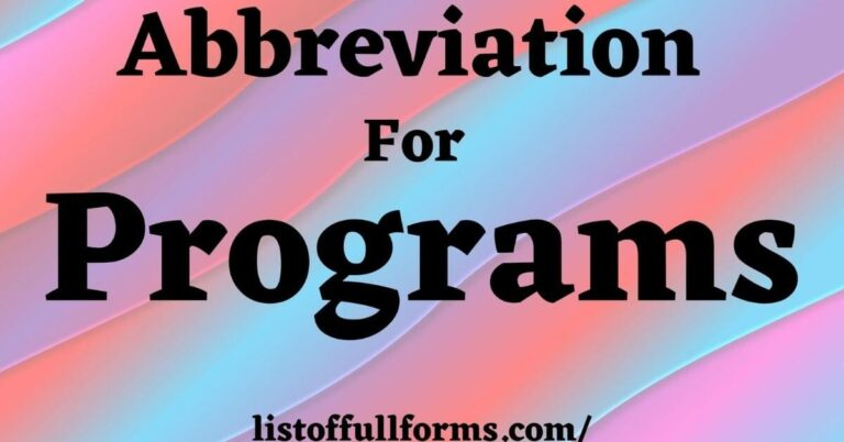 Abbreviation For Programs