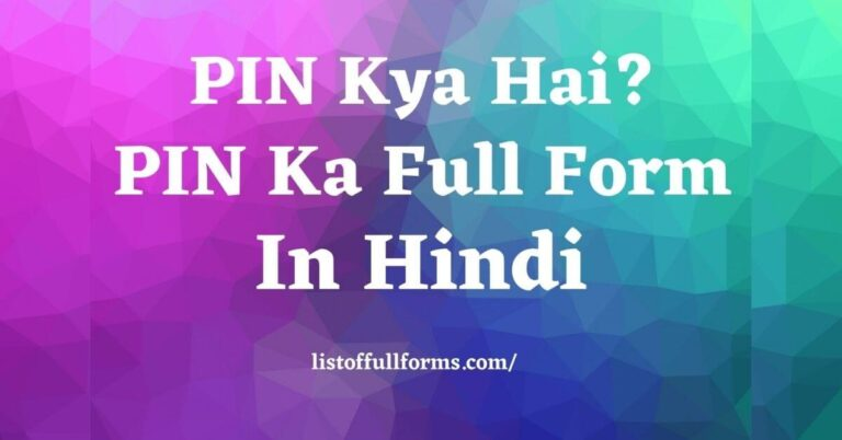 PIN Full Form in Hindi